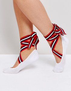Read more about Asos ballerina sock with stripe tie ribbon - white