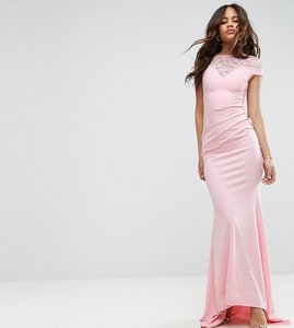 Read more about City goddess tall fishtail maxi dress with lace detail - pink 29