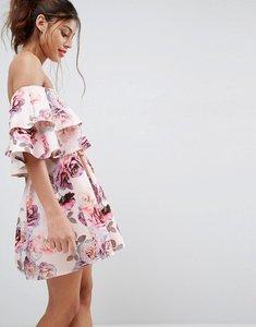 Read more about Asos double ruffle bardot mini skater dress - multi