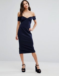 Read more about Club l office bardot v scuba pencil midi dress - navy