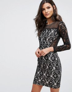 Read more about Ax paris lace front long sleeved mini dress - black nude