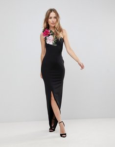 Read more about Jessica wright floral one shoulder maxi dress with thigh split - black