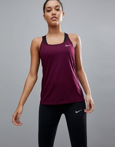Read more about Nike running dry miler strappy tank in burgundy - red