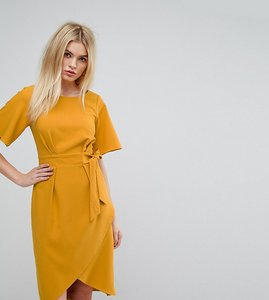 Read more about Closet london tie front dress with kimono sleeve - mustard