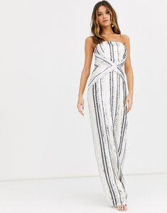 Read more about Tfnc bandeau stripe sequin maxi dress with back slit in multi