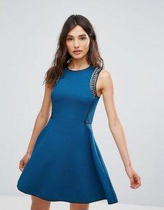 Read more about Oeuvre skater dress with embellished shoulder - blue