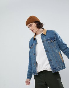 Read more about Asos skinny denim jacket with cord collar in mid wash - blue wash