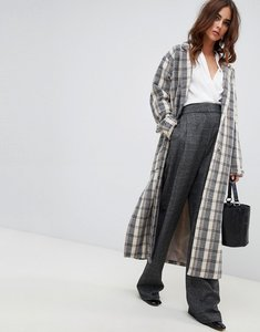 Read more about Fashion union oversized smart coat in check - cream check