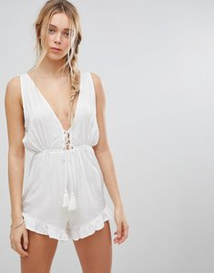 Read more about Glamorous lace up playsuit - white
