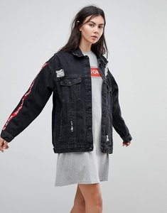 Read more about Kubban tape arm oversized denim jacket - black