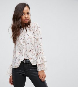 Read more about New look petite sequin floral fluted sleeve top - white pattern