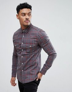 Read more about Asos skinny denim western shirt in red - red