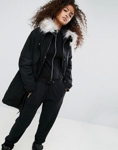 Read more about Asos oversized parka with padded liner - black