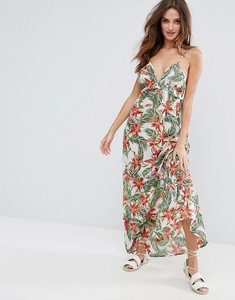 Read more about Asos beach maxi dress with ruffle detail in tropical print - tropical print