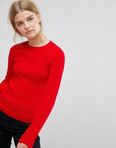 Read more about Asos jumper with crew neck in rib - red