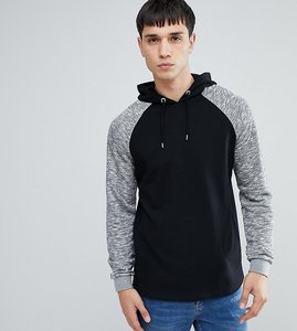 Read more about Asos tall hoodie with contrast raglan sleeve in black - black