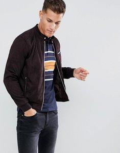 Read more about Celio faux suede biker jacket in brown - marron