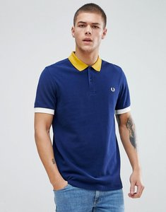 Read more about Fred perry colour block pique polo in navy - 143