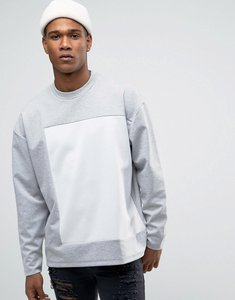 Read more about Asos oversized bonded sweatshirt with cut sew - grey marl