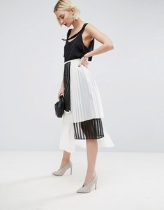 Read more about Asos white multi layer pleated midi skirt - multi