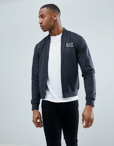 Read more about Ea7 zip through bomber logo sweat in dark grey - 3909 carbon melange