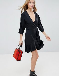Read more about Asos wrap front mini frill dress - black