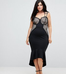 Read more about Asos curve lace cupped pephem strappy bodycon dress - black