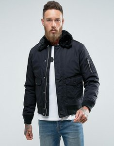 Read more about Schott air bomber jacket detachable faux fur collar slim fit in black black - black