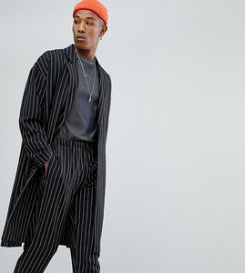 Read more about Reclaimed vintage inspired duster jacket in pinstripe - black