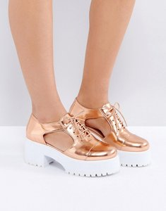 Read more about Asos oake chunky cut out shoes - nude metallic