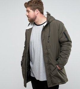 Read more about Brave soul plus brave soul plus borg lined hooded parka jacket - green
