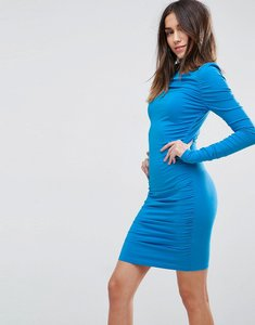 Read more about Asos ruched mini bodycon dress with long sleeve - blue
