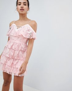 Read more about Prettylittlething lace up cold shoulder tiered bardot dress - pink
