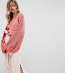 Read more about Oneon hand knitted balloon sleeve jumper - pink