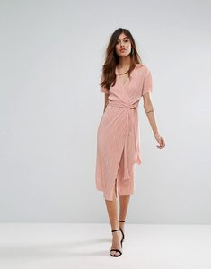 Read more about Oh my love pleated midi wrap dress with belt - nude