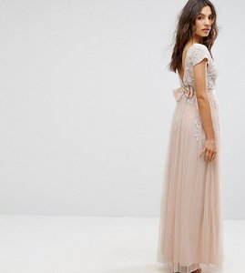 Read more about Maya embellished cap sleeve maxi dress with bow back - nude