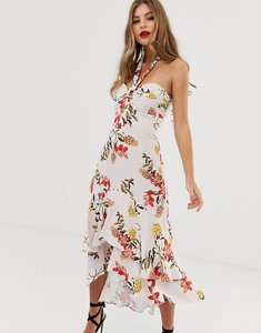 Read more about Forever new halterneck midi dress with asymmetric hem in floral print