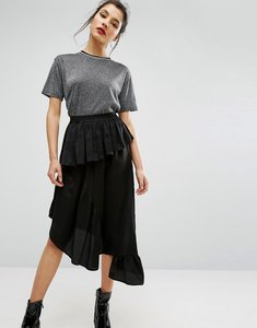 Read more about Asos deconstructed midi skirt in satin - black