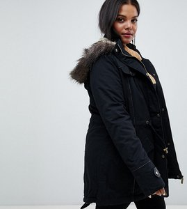 Read more about Brave soul plus allure parka coat - black