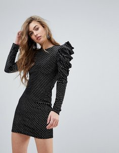 Read more about Miss selfridge mirror metallic ruched mini dress - black