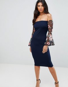 Read more about Club l bardot detail dress with embroidered sleeves - navy