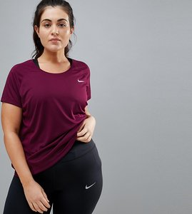 Read more about Nike plus running dry miler top in burgundy - red