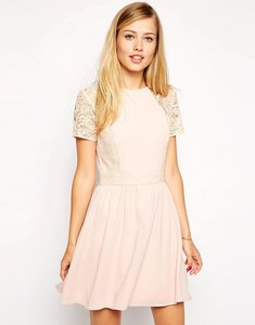 Read more about Asos skater dress with lace sleeves and overlay - nude
