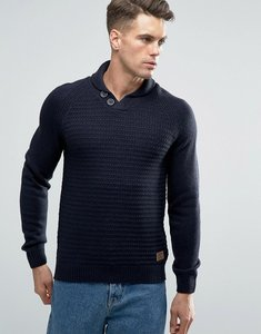 Read more about Threadbare shawl neck jumper - navy
