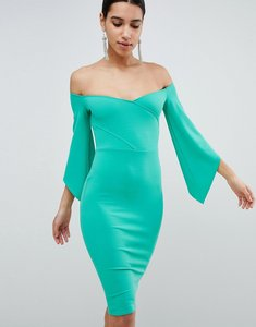 Read more about Club l bardot pencil dress with 3 4 sleeve - green