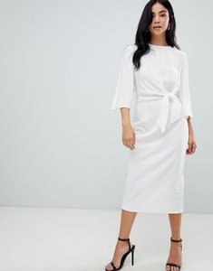 Read more about Asos design pencil dress with woven knot bodice - white