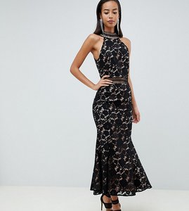 Read more about Jarlo tall high neck allover cutwork lace midaxi dress in black