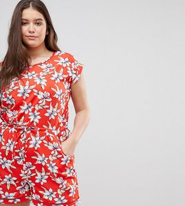 Read more about Brave soul plus lenore floral print playsuit with ladder detail - coral combo