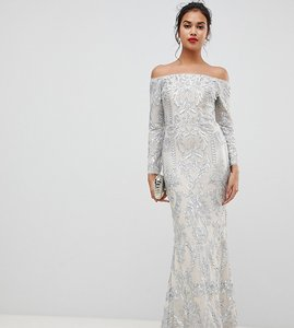 3d5524793d6f0 Read more about Bariano embellished patterned sequin off shoulder maxi dress  in silver