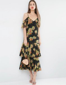 Read more about Asos premium maxi dress with frill hem and cold shoulder in floral print - multi
